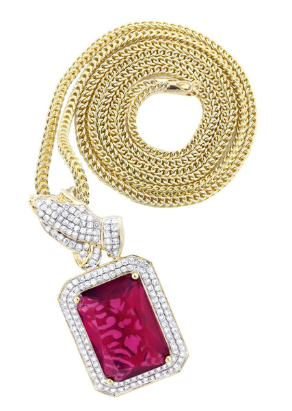 14K Yellow Gold Ruby Praying Hands Pendant & Franco Chain | 2.91 Carats