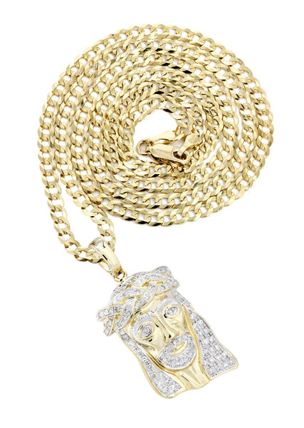10 Yellow Gold Jesus Head Diamond Pendant & Cuban Chain | 0.66 Carats