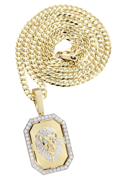14K Yellow Gold Lion Dog Tag Pendant & Cuban Chain | 3.09 Carats