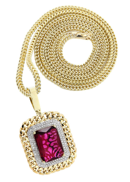 10K Yellow Gold Ruby Diamond Pendant & Franco Chain | 1.43 Carats