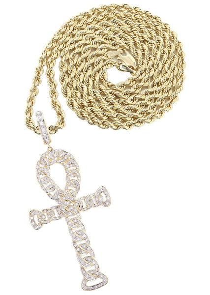 10K Yellow Gold Ankh Diamond Pendant & Rope Chain | 0.79 Carats