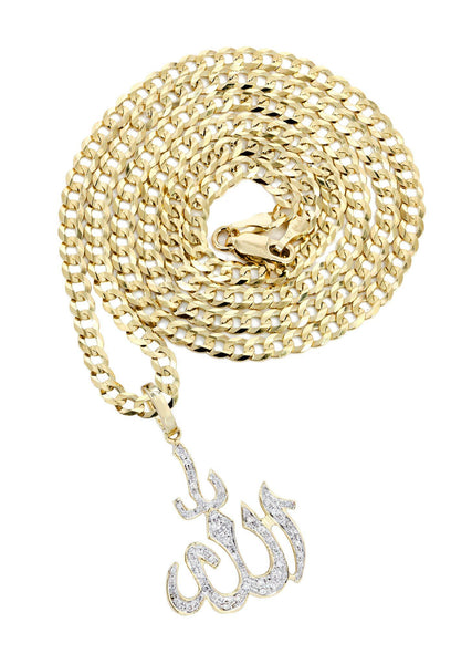 10K Yellow Gold Arabic Alla Diamond Pendant & Cuban Chain | 0.41 Carats