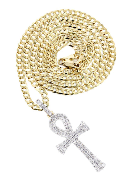 10 Yellow Gold Ankh Diamond Pendant & Cuban Chain | 1.13 Carats