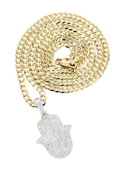10K Yellow Gold Hamsa Diamond Pendant & Cuban Chain | 5.26 Carats