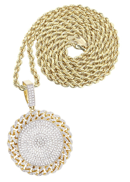 14K Yellow Gold Circle Pendant Diamond Pendant & Rope Chain | 4.17 Carats