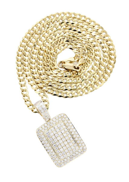 10 Yellow Gold Dog Tag Diamond Pendant & Cuban Chain | 1.61 Carats