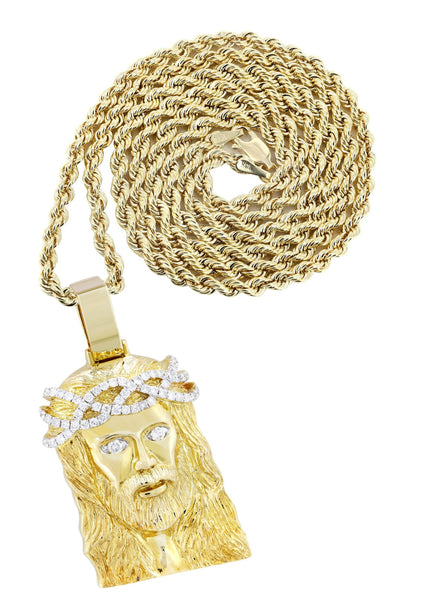 10K Yellow Gold Jesus Head Pendant & Rope Chain | 0.85 Carats