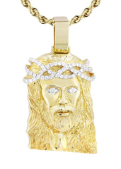 10K Yellow Gold Jesus Head Pendant & Rope Chain | 0.85 Carats diamond combo FrostNYC