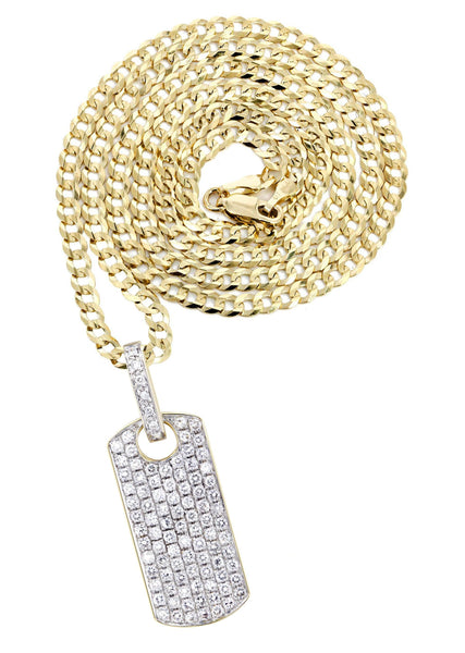 14K Yellow Gold Dog Tag Pendant & Cuban Chain | 1.82 Carats