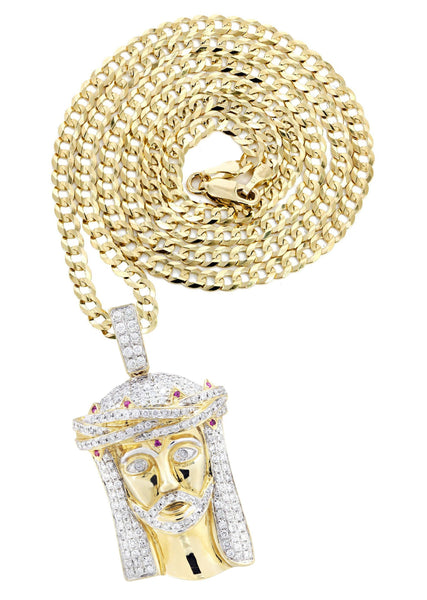 14K Yellow Gold Jesus Head Pendant & Cuban Chain | 1.61 Carats