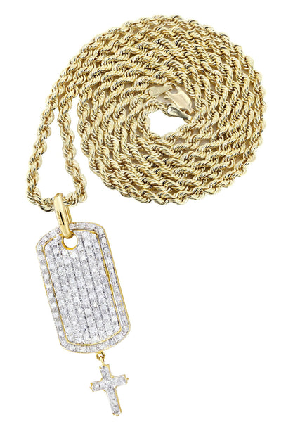 10K Yellow Gold Dog Tag Pendant & Rope Chain | 1.06 Carats