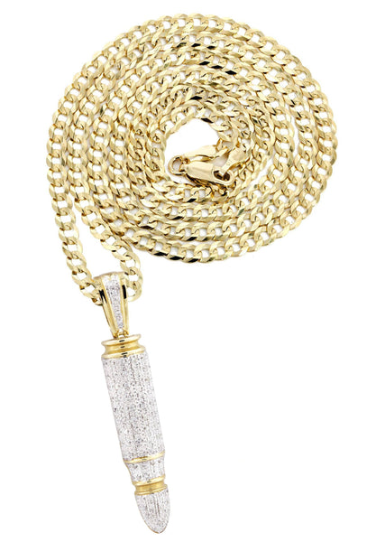 10K Yellow Gold Bullet Pendant & Cuban Chain | 0.95 Carats