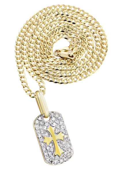 10K Yellow Gold Dog Tag Pendant & Cuban Chain | 0.47 Carats