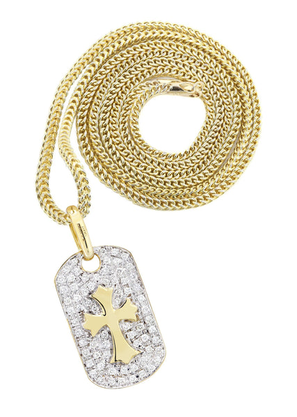10K Yellow Gold Dog Tag Pendant & Franco Chain | 0.69 Carats