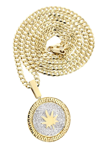 10 Yellow Gold Marijuana Leaf Diamond Pendant & Cuban Chain | 0.88 Carats