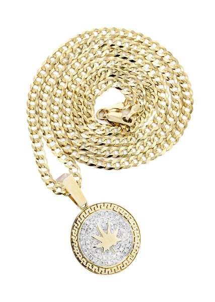 10 Yellow Gold Marijuana Leaf Diamond Pendant & Cuban Chain | 0.62 Carats