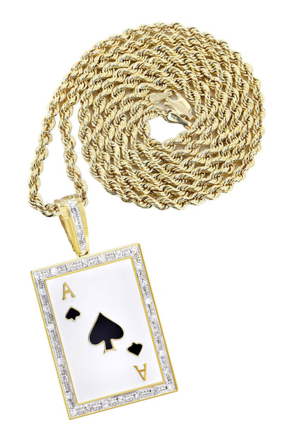 10K Yellow Gold Ace of Spades Pendant & Rope Chain | 0.55 Carats