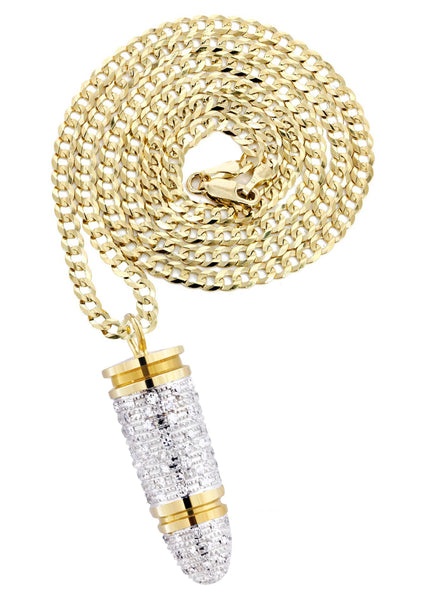 10K Yellow Gold Bullet Pendant & Cuban Chain | 1.03 Carats
