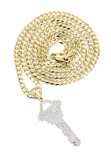 10 Yellow Gold Key Diamond Pendant & Cuban Chain | 1.17 Carats