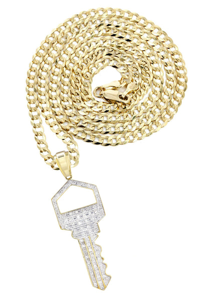 10K Yellow Gold Key Pendant & Cuban Chain | 0.45 Carats