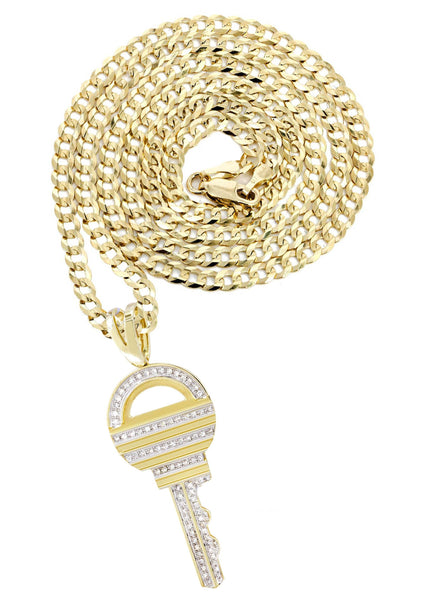 10K Yellow Gold Key Pendant & Cuban Chain | 0.55 Carats