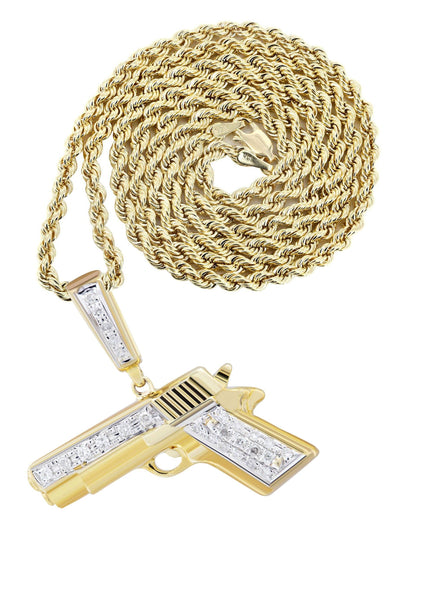 10K Yellow Gold Gun Pendant & Rope Chain | 0.19 Carats