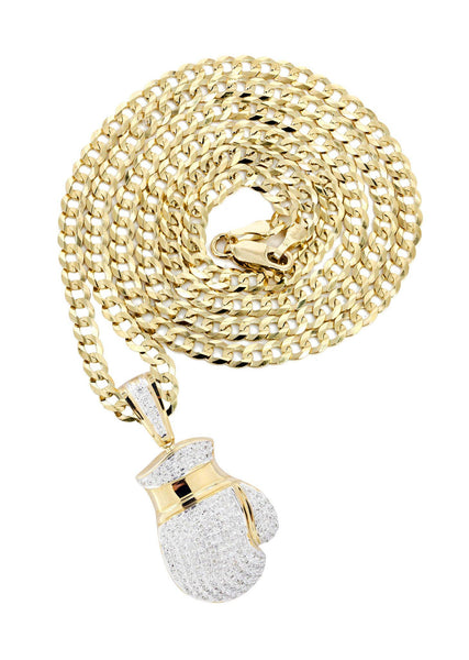 10K Yellow Gold Boxing Glove Diamond Pendant & Cuban Chain | 1.42 Carats
