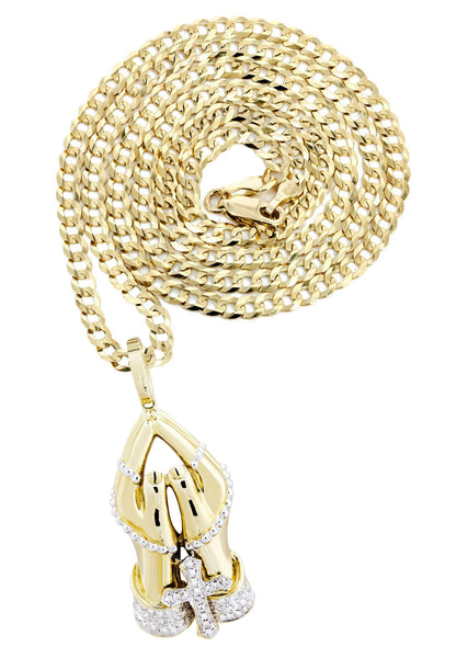 10K Yellow Gold Praying Hands Pendant & Cuban Chain | 0.46 Carats