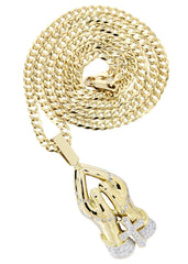 10K Yellow Gold Praying Hands Diamond Pendant & Cuban Chain | 0.73 Carats
