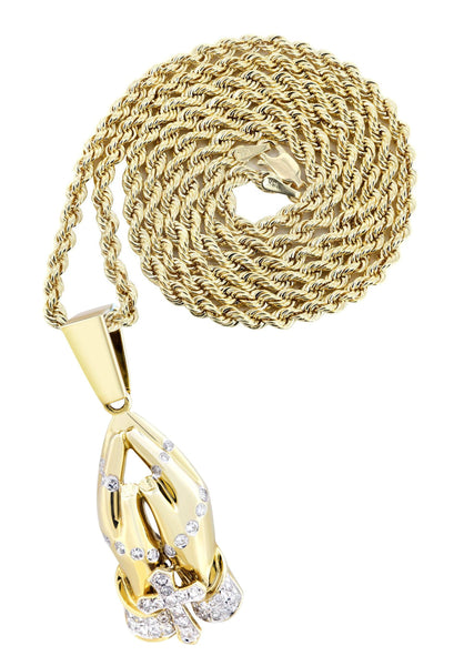 10K Yellow Gold Praying Hands Pendant & Rope Chain | 0.36 Carats
