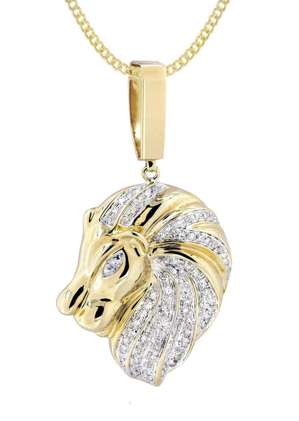 10 Yellow Gold Lion Head Diamond Pendant & Cuban Chain | 0.84 Carats