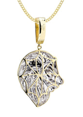 10K Yellow Gold Lion Head Diamond Pendant & Cuban Chain | 0.84 Carats