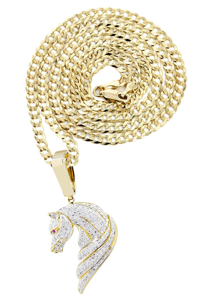 10K Yellow Gold Horse Pendant & Cuban Chain | 1.07 Carats