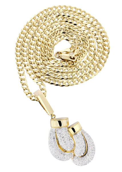 10K Yellow Gold Boxing Glove Diamond Pendant & Cuban Chain | 1.47 Carats