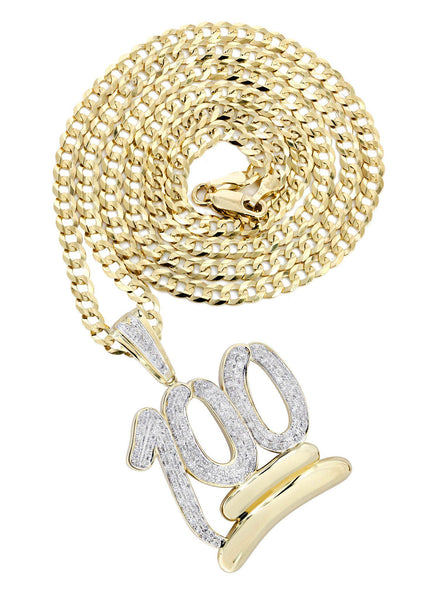 10K Yellow Gold 100 Diamond Pendant & Cuban Chain | 1.14 Carats
