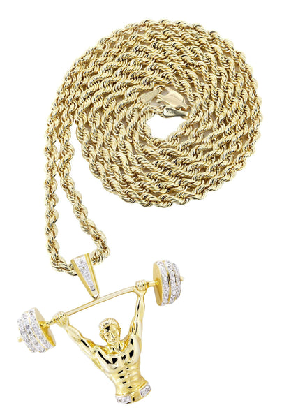 10K Yellow Gold Muscle Man Pendant & Rope Chain | 0.85 Carats
