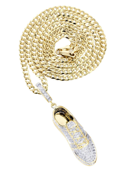 10K Yellow Gold Sneaker Diamond Pendant & Cuban Chain | 1.02 Carats