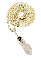 10K Yellow Gold Sneaker Diamond Pendant & Cuban Chain | 0.68 Carats