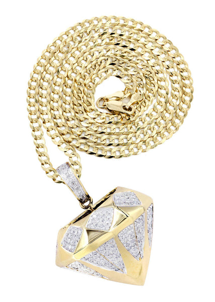 10 Yellow Gold Diamond Pendant & Cuban Chain | 0.91 Carats