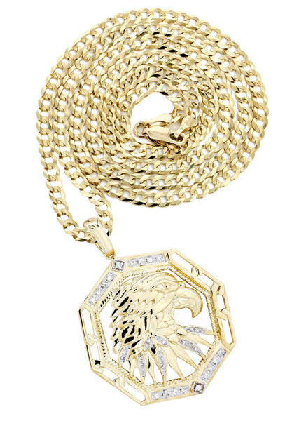 10 Yellow Gold Hawk Pendant Diamond Pendant & Cuban Chain | 0.58 Carats
