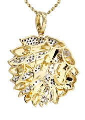 10K Yellow Gold Head Chief Diamond Pendant & Rope Chain | 0.39 Carats Diamond Combo FROST NYC