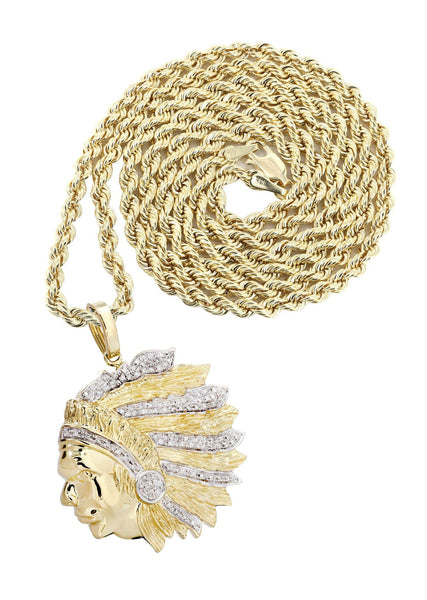 10K Yellow Gold Head Chief Diamond Pendant & Rope Chain | 0.39 Carats