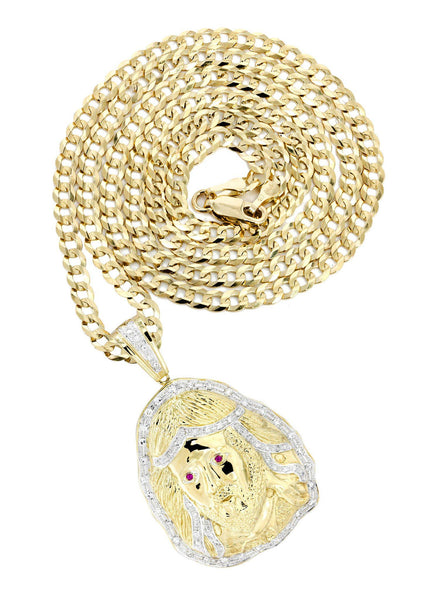 10K Yellow Gold Jesus Head Diamond Pendant & Cuban Chain | 1.1 Carats