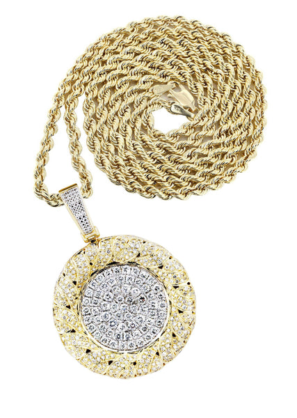 14K Yellow Gold Round Pendant & Rope Chain | 2.1 Carats