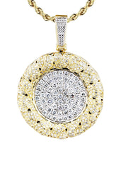 14K Yellow Gold Round Pendant & Rope Chain | 2.1 Carats diamond combo FrostNYC