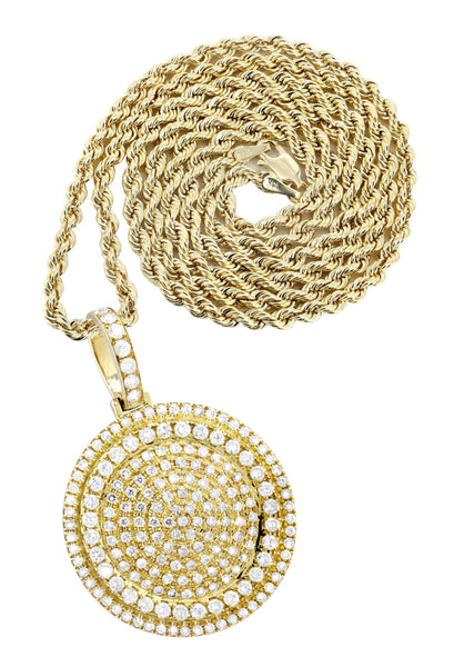 10K Yellow Gold Round Pendant & Rope Chain | 4.42 Carats