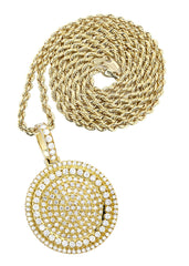 10K Yellow Gold Round Pendant & Rope Chain | 4.42 Carats diamond combo FrostNYC