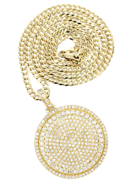 10K Yellow Gold Circle Diamond Pendant & Cuban Chain | 6 Carats