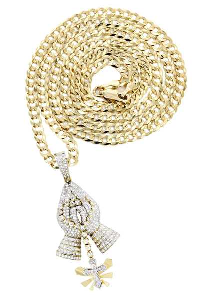 14K Yellow Gold Praying Hands Pendant & Cuban Chain | 3.01 Carats
