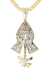 14K Yellow Gold Praying Hands Pendant & Cuban Chain | 3.01 Carats diamond combo FrostNYC